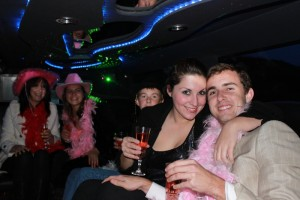 family celebration in limo